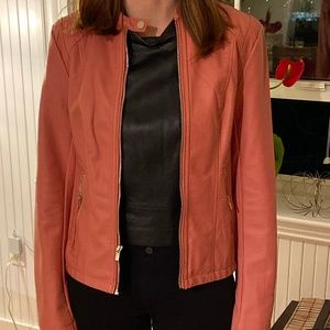 Salmon Faux Leather Jacket